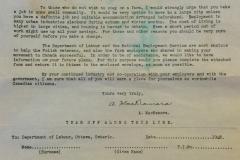 List-wiceministra-pracy-Kanady-do-polskich-weteranów-wojskowych,-zachęcający-do-pracy-na-farmach-w-Kanadzie,-1948-r
